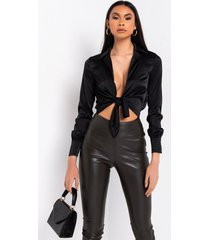 akira love my way cut out tie front bodysuit