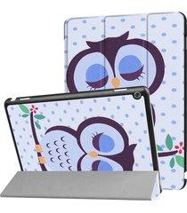 huawei mediapad m3 lite 10 dot y owl pattern deformación horizontal flip funda de cuero con tres plegable titular y sleep / wake up