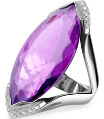 forzieri designer rings, amethyst and diamond white gold fashion ring