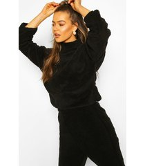 funnel neck top with side vents in teddy fleece, black