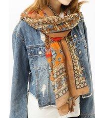 sciarpa etnica del voile del cotone musulmano della bandana musulmana bandana geometrica per le donne lungo avvolgente della nappa dello scialle
