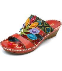 socofybohemiohechoamanopiel genuina zapato gancho sandalias