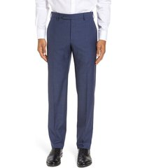 men's zanella parker flat front classic fit sharkskin wool dress pants, size 35 x unhemmed - blue