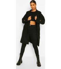 lange nepwollen jas met knopen, black