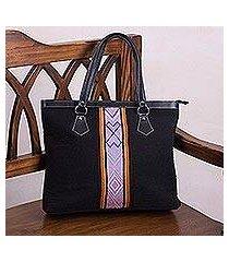 wool handbag, 'black empress' (peru)