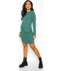 maternity crew neck basic bodycon dress, green