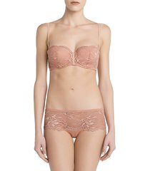 la perla women's brigitta lace boyshorts - pink - size m
