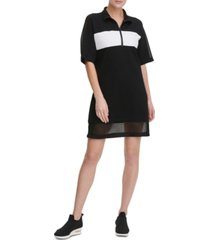 dkny sport colorblocked half-zip sheer-hem dress