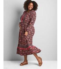 lane bryant women's lace-up neck midi dress - border print 26 mixed floral