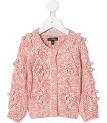 velveteen harley cable knit cardigan - pink