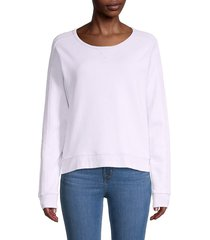 three dots women's plush terry sweatshirt - mineral sun - size s