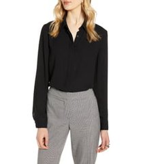 women's halogen hidden button long sleeve blouse, size small - black