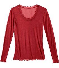 shirt met lange mouwen en ronde hals uit biologische zijde, portowijn 34