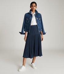 reiss davina - pleated midi skirt in navy, womens, size 14