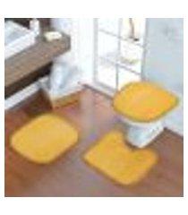 jogo para banheiro tinto com 3 peças amarelo