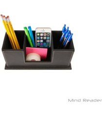 mind reader faux leather 4 compartment desk organizer