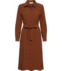 dhthelma dress jurk knielengte bruin denim hunter