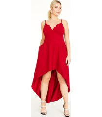 speechless trendy plus size scalloped high-low dress