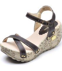 sandália betina beker top franca shoes anabela feminina