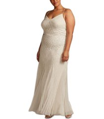 adrianna papell plus size beaded embellished gown