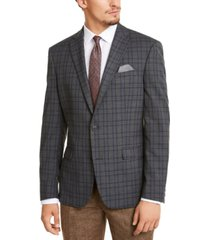 bar iii men's slim-fit stretch gray plaid sport coat, created for macy's