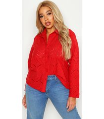 plus broderie oversized shirt, red