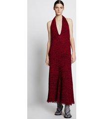 proenza schouler crochet v-neck halter dress red multi m