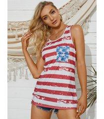 camiseta sin mangas con cuello redondo y decoración de lazo a rayas y estrellas