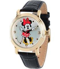 disney minnie mouse women's shiny gold vintage alloy watch