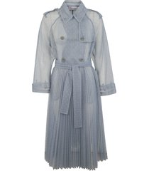 red valentino double breasted pleated long see-through trench dress