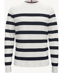 tommy hilfiger men's essential breton stripe sweater snow white heather - xxxl