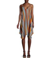 cocobleu women's striped handkerchief dress - black multi - size m