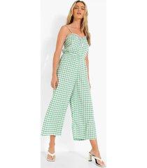 gingham culotte jumpsuit met bandjes, green