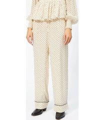 ganni women's elm georgette trousers - tapioca - eu 36/uk 8 - beige