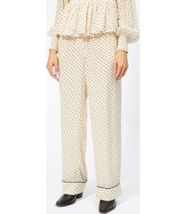 ganni women's elm georgette trousers - tapioca - eu 40/uk 12 - beige