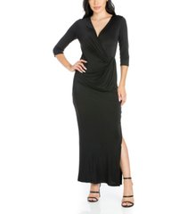 women's fitted v-neck side slit maxi dress