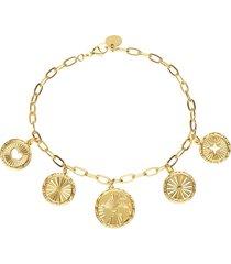 bracciale con charms rosa dei venti, raggi e cuore in bronzo dorato per donna