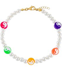 adina's jewels yin yang imitation pearl beaded anklet in multi-color at nordstrom