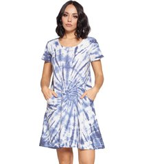 yak & yeti women's dress tie dye textured fabric with pockets - blue - x-large polyester/rayon