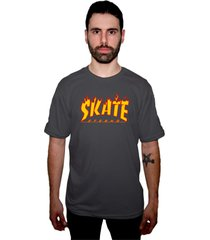 camiseta manga curta skate eterno elite logo grafite - grafite - masculino - dafiti