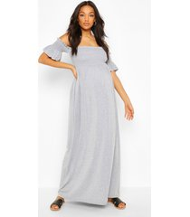 maternity bardot shirred maxi dress, grey marl