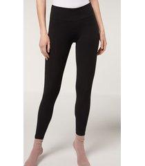 calzedonia supima cotton leggings woman black size xl