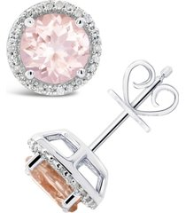 morganite (2-1/2 ct. t.w.) and diamond (1/6 ct. t.w.) stud earrings in sterling silver