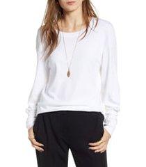 women's treasure & bond blouson sleeve tee, size x-large - white