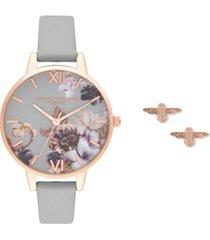 olivia burton women's gray leather strap watch 34mm gift set