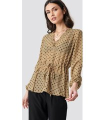 na-kd boho drawstring waist chiffon blouse - beige