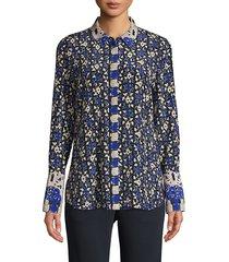 kobi halperin women's marla printed silk blouse - cobalt multi - size xs