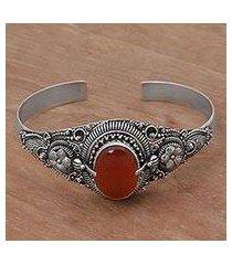 carnelian cuff bracelet, 'bright balinese magic' (indonesia)