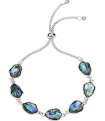 style & co silver-tone stone slider bracelet, created for macy's