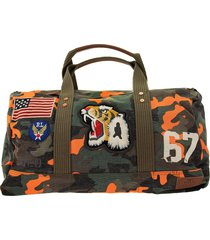 ralph lauren duffle bag in camouflage canvas with tiger